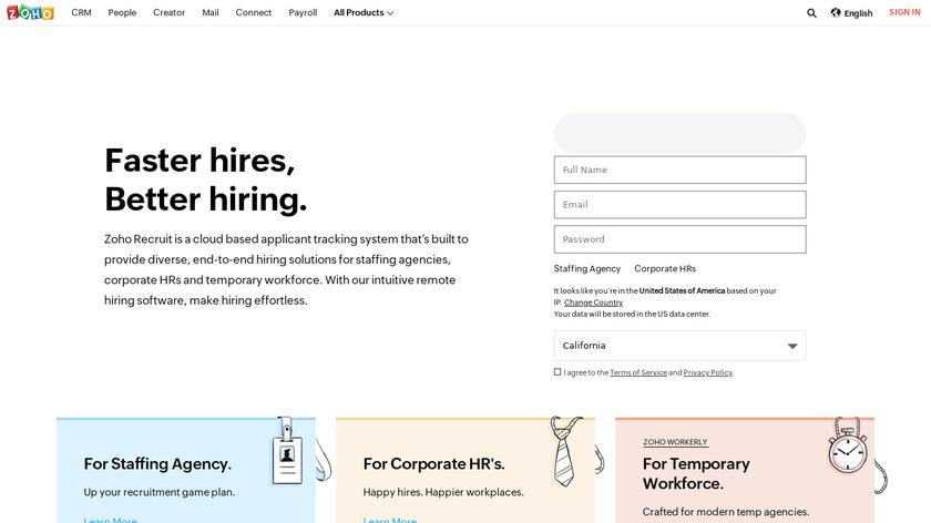 Zoho Recruit Landing Page