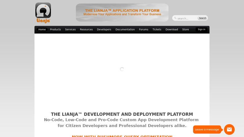 Lianja App Builder Landing Page