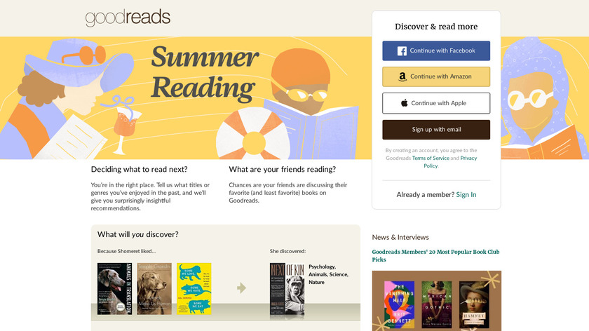 Goodreads Landing Page