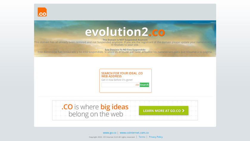 Evolution 2 Landing Page