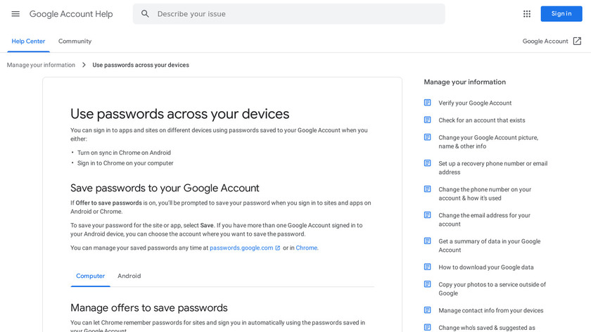 Google Smart Lock Landing Page