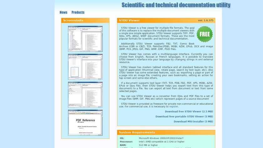 STDU Viewer Landing Page