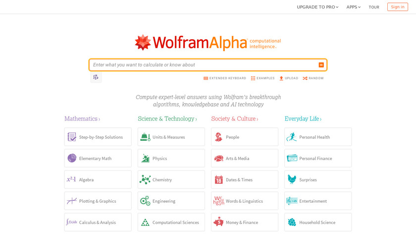 WolframAlpha Landing Page