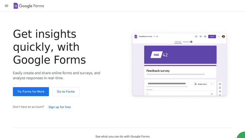 Google Forms Landing Page