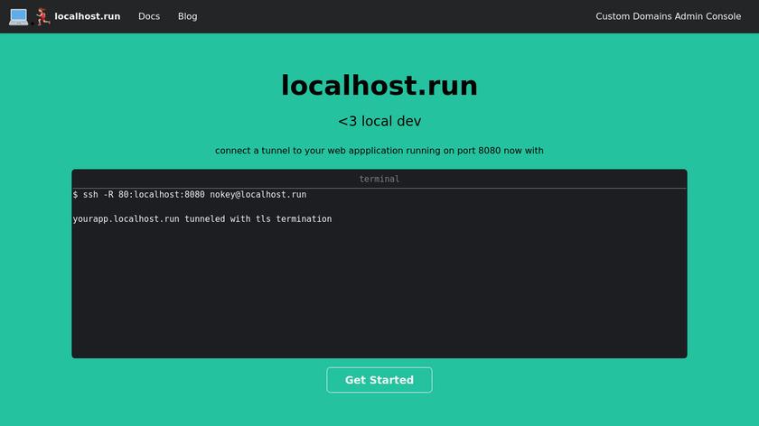 localhost.run Landing Page
