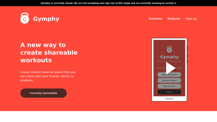 Gymphy Landing Page