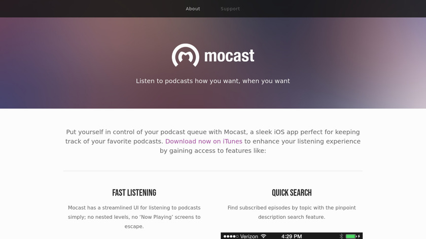 Mocast Landing Page