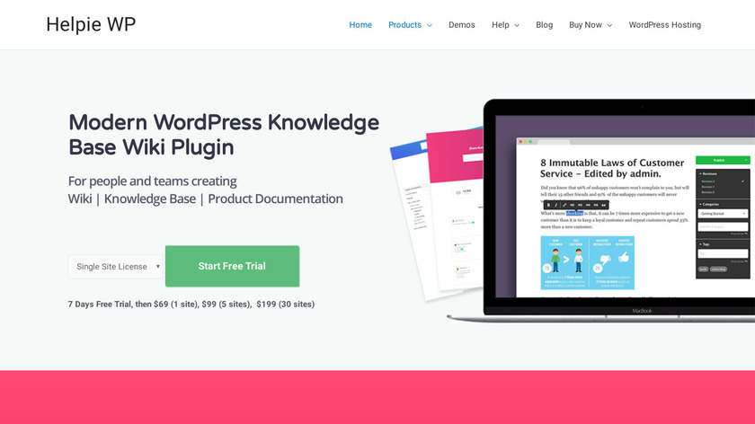 Helpie Knowledge Base Wiki Plugin Landing Page