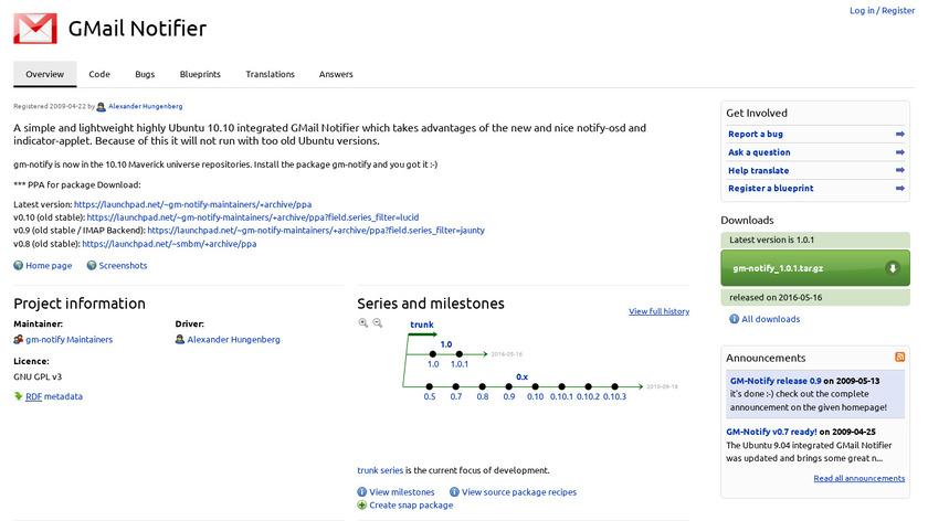 Gm-notify Landing Page