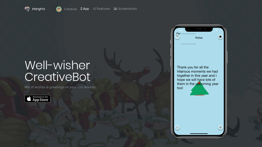 Well-wisher CreativeBot Landing Page