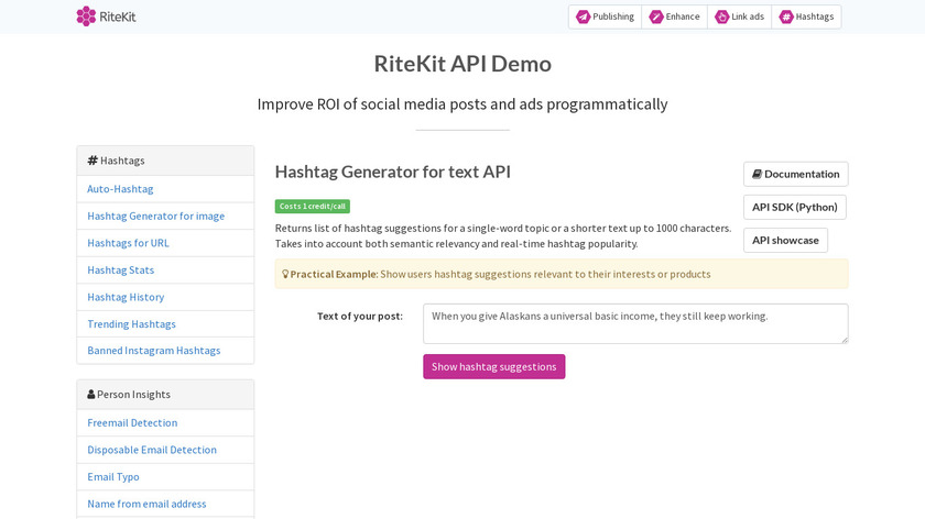 RiteKit Hashtag Suggestions API Landing Page