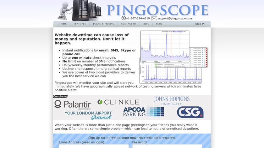 Pingoscope Landing Page