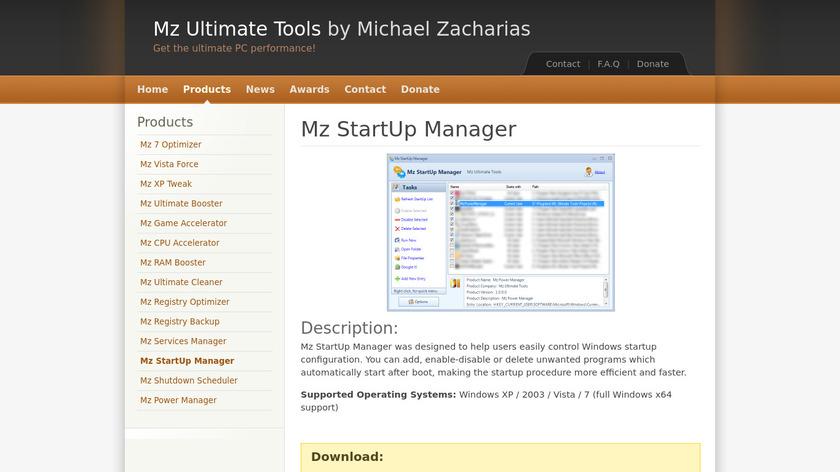 Mz StartUp Manager Landing Page