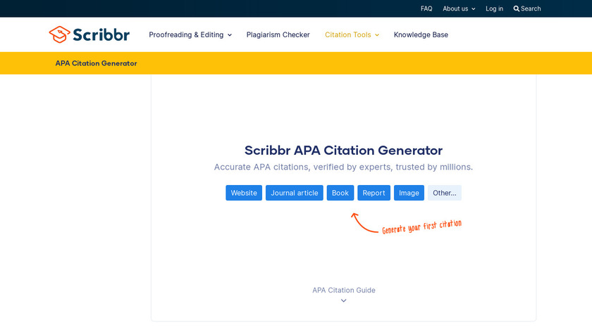 SCRiBBR APA Generator Landing Page