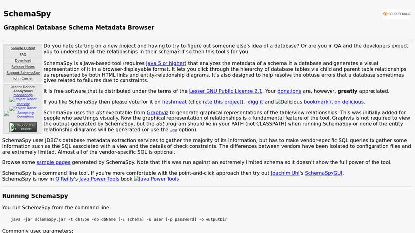 SchemaSpy Landing Page