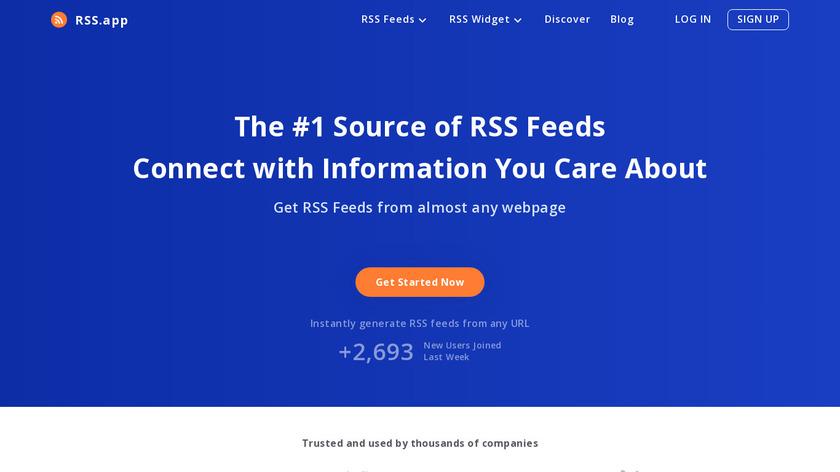 RSS.app Landing Page