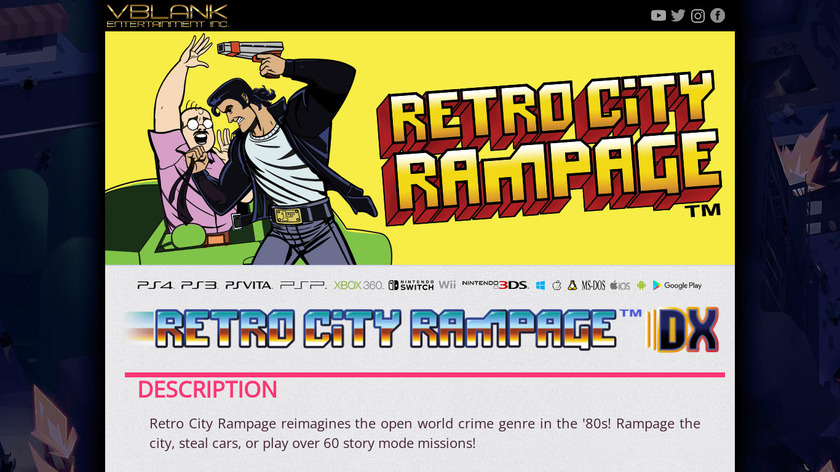 Retro City Rampage DX Landing Page