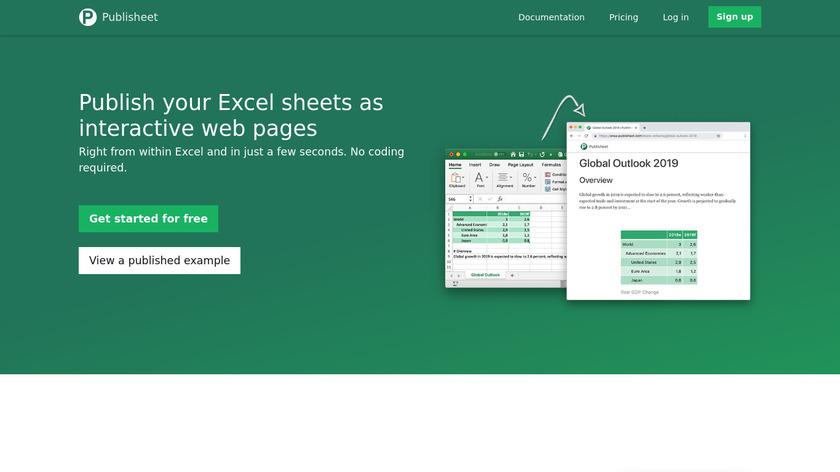 Publisheet Landing Page