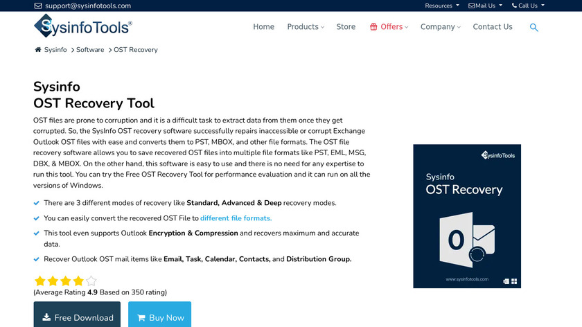 SysInfoTools OST File Recovery Landing Page
