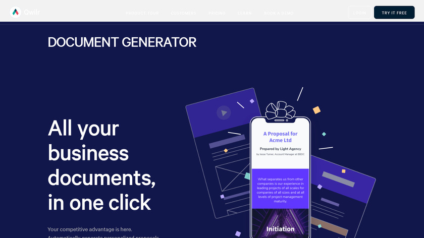 Document Generator by Qwilr Landing Page