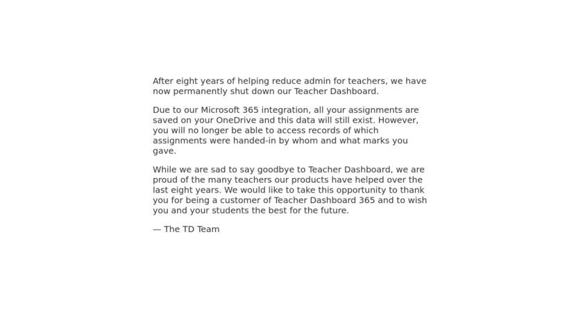 TeacherDashboard365 Landing Page