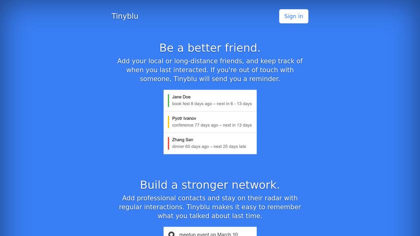 tinyblu Landing Page