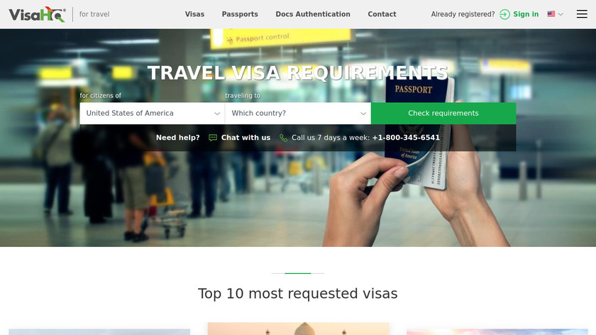 VisaHQ Landing Page