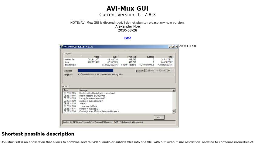 AVI-Mux GUI Landing Page