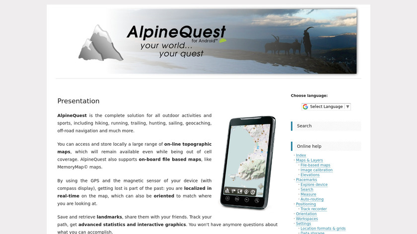 AlpineQuest Landing Page