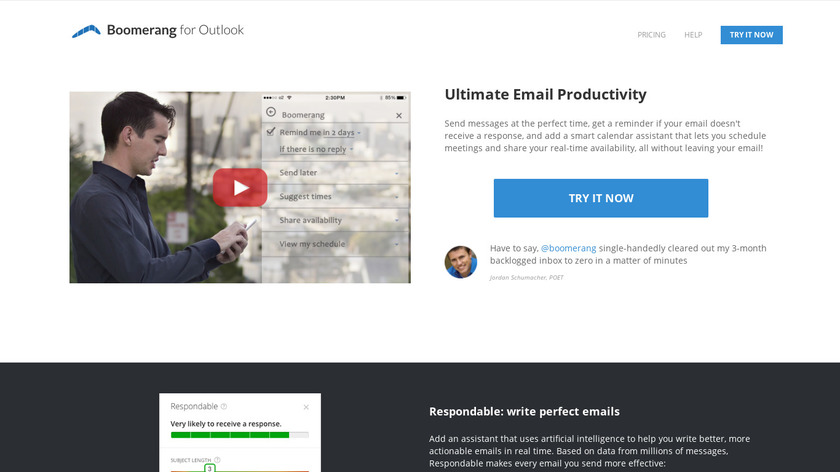 Boomerang for Outlook Landing Page