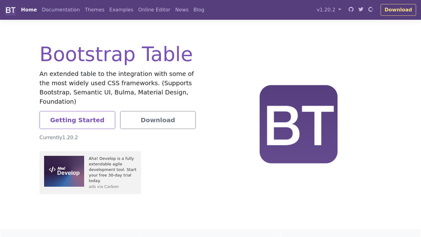 Bootstrap Table Landing Page