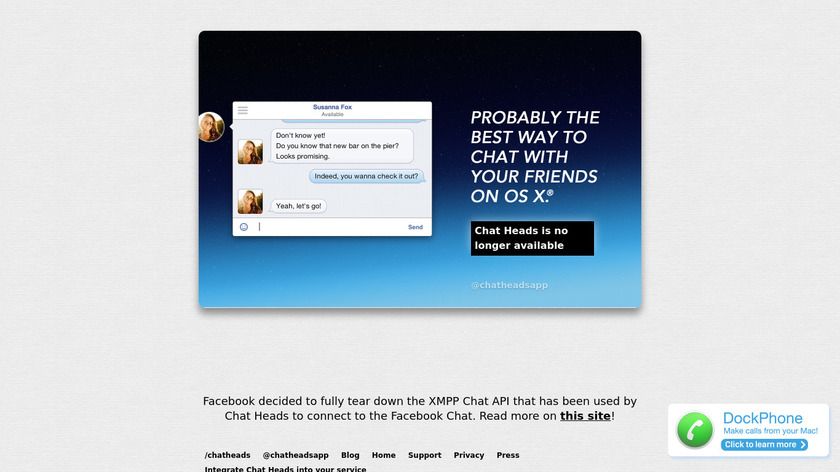 Chat Heads Landing Page