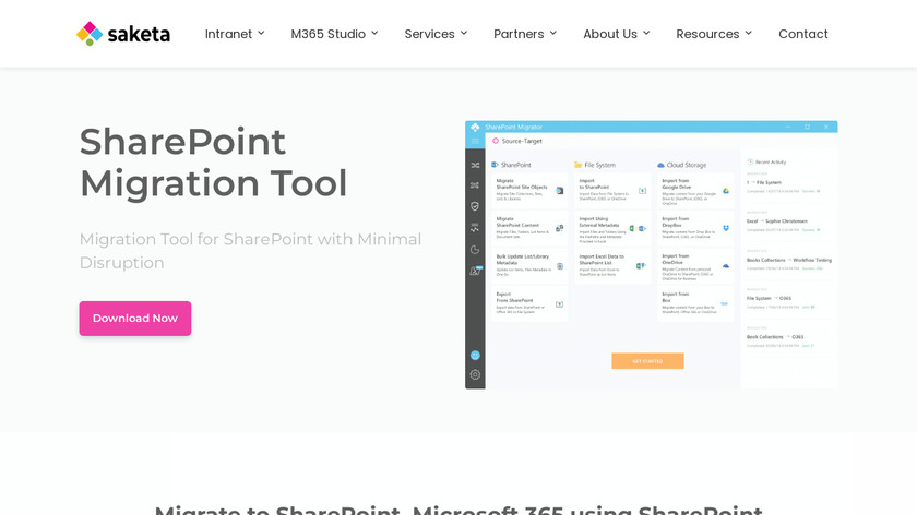 Saketa Sharepoint Migration Tool Landing Page