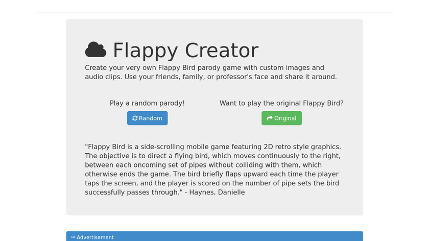Flappy Creator Landing Page