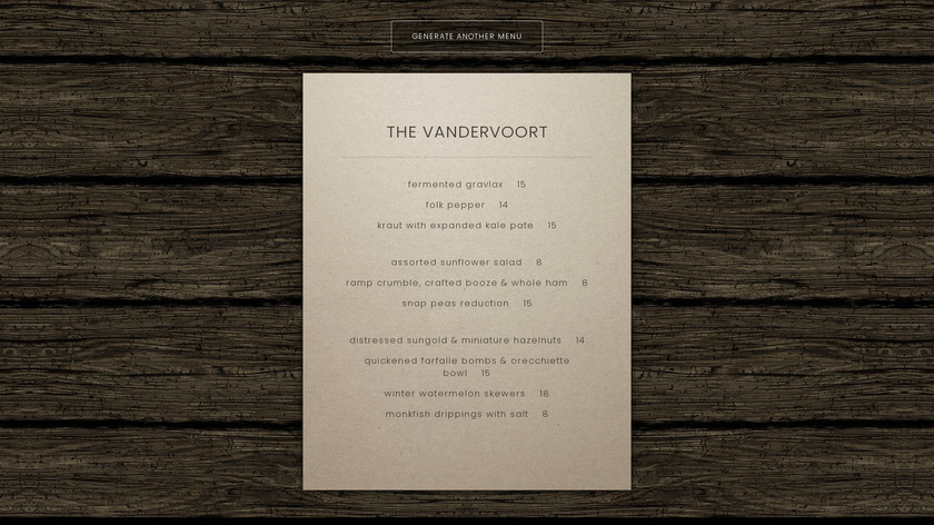 Brooklyn Bar Menu Generator Landing Page