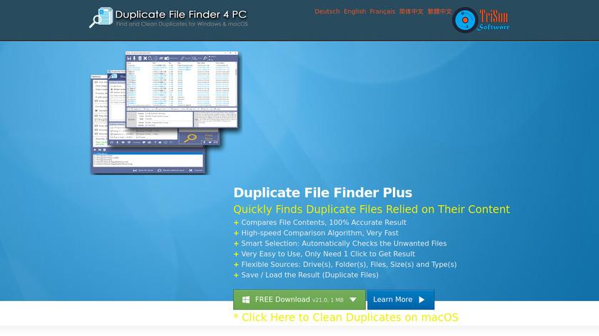 Duplicate File Finder Plus Landing Page