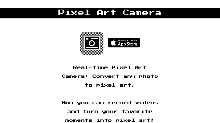 Pixel Art Camera Landing Page