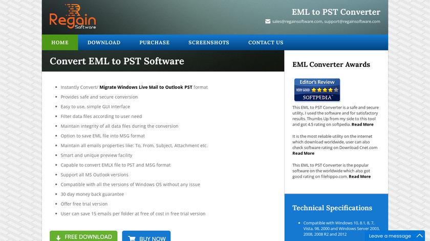 Regain EML to PST Converter Landing Page