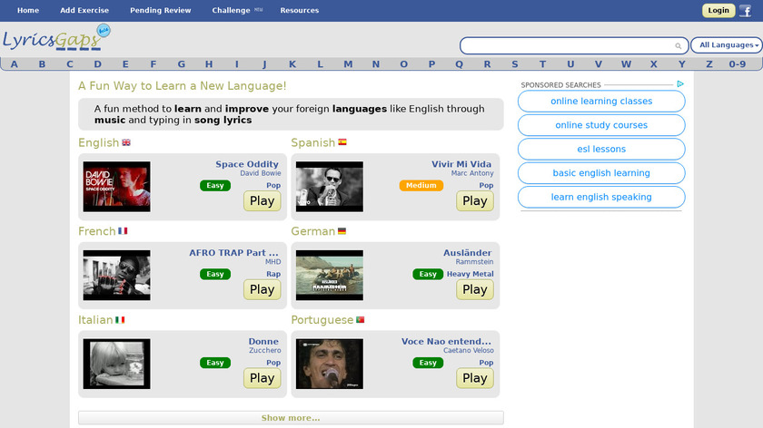 Lyricsgaps Landing Page