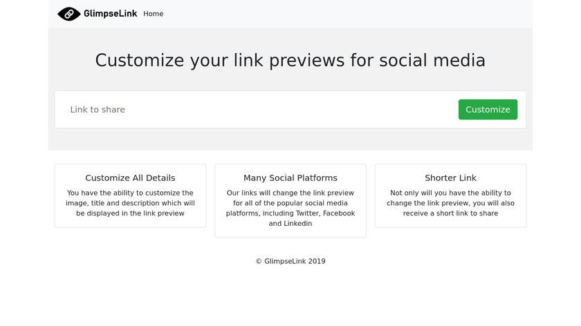 GlimpseLink Landing Page