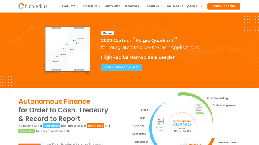HighRadius Integrated Receivables Landing Page
