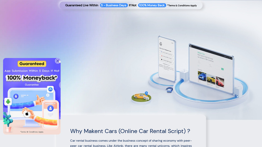 Makent Cars by Trioangle Landing Page