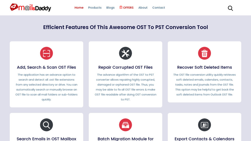 MailsDaddy OST to PST Converter Landing Page