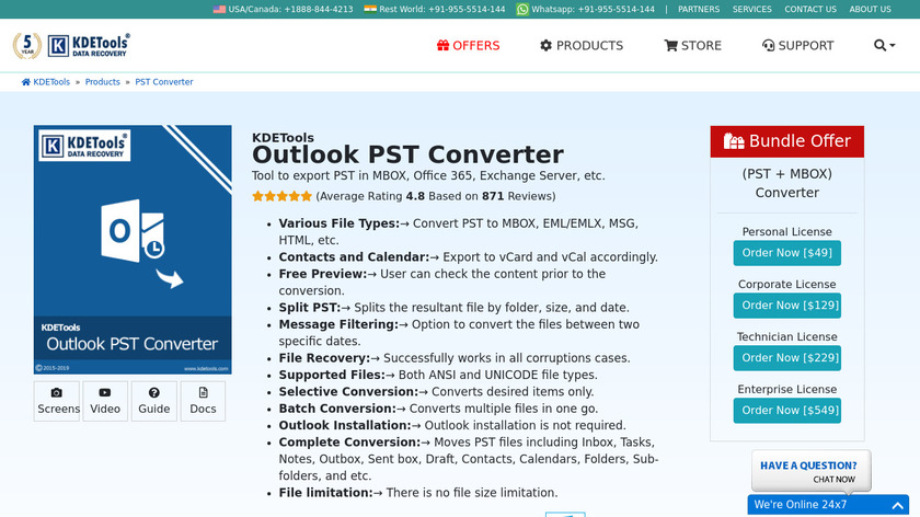 KDETools Outlook PST Converter Landing Page