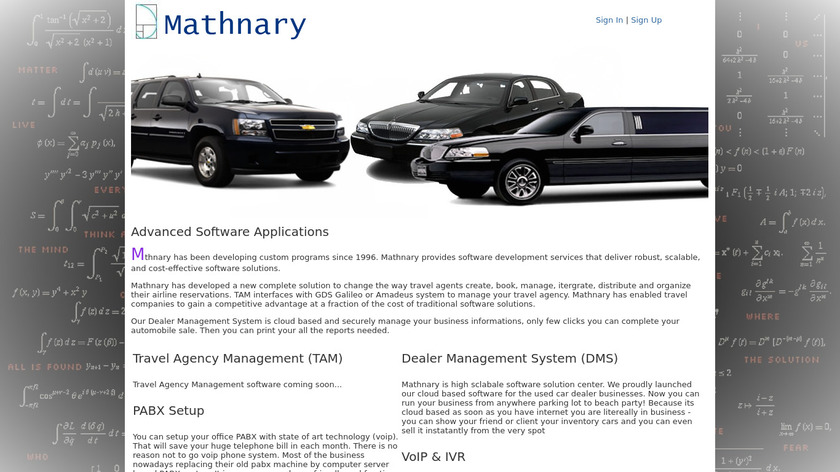 Mathnary DMS Landing Page