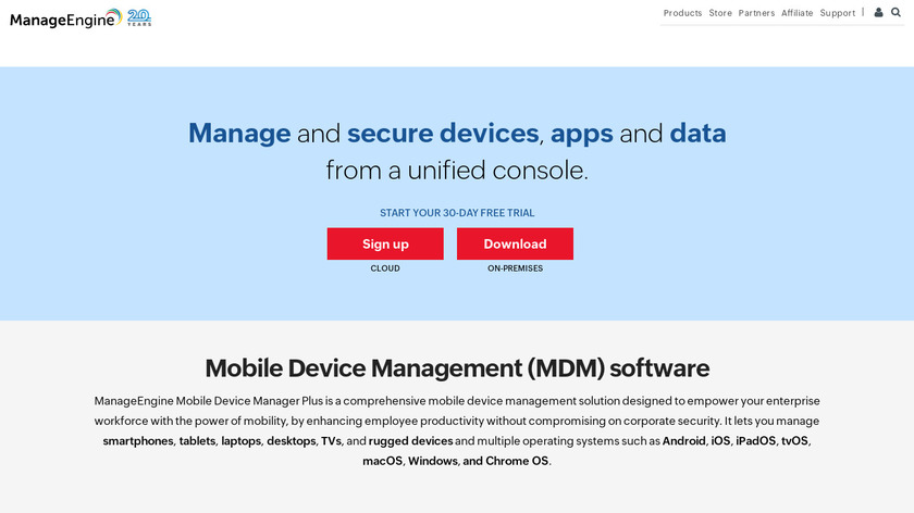 ManageEngine Mobile Device Manager Plus Landing Page