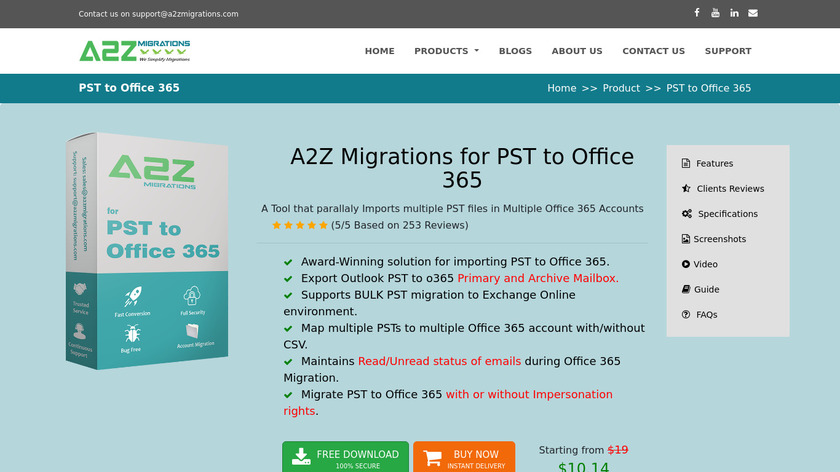 A2Zmigrations PST to Office 365 Landing Page