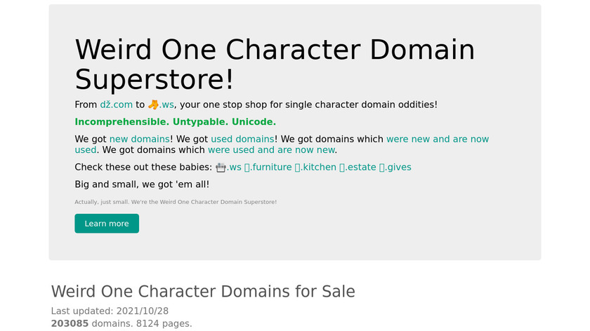 Weird One Character Domain Superstore Landing Page