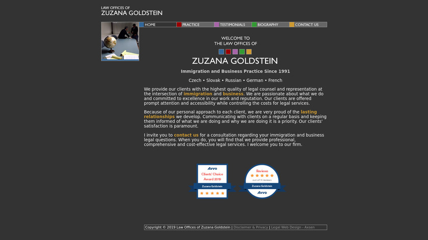 Law Offices of Zuzana Goldstein Landing Page