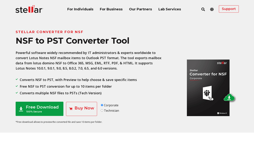 Stellar Converter for NSF Landing Page